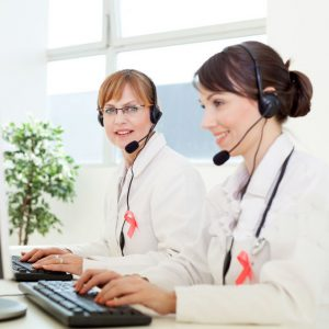 Doctors working at call center
